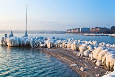 Lac Genève en hiver Images libres de droits