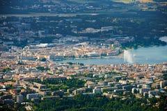 Lac Genève view aérienne Photographie stock libre de droits