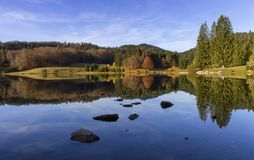 Lac Genin, Jura, France. Lac Genin by beautiful autumn day, Jura, France royalty free stock photo