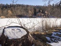 Lac glacé dans le trentino Photos libres de droits