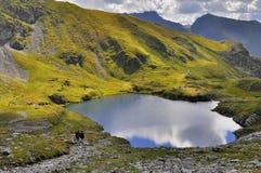 Lac glaciaire de montagne bleue de Carpathiens Photographie stock libre de droits