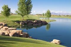 Lac golf Course de désert Photos stock