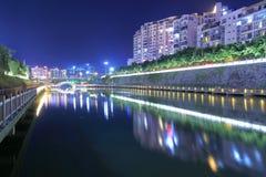 Lac Guihu de ville fuan la nuit Photo libre de droits