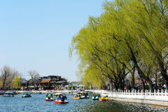 Lac Houhai, Pékin image libre de droits