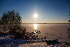 Lac illimité en glace Photo stock