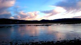 Lac incroyable de glace après coucher du soleil Image stock