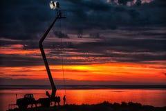 Lac Issyk Kul au lever de soleil photographie stock