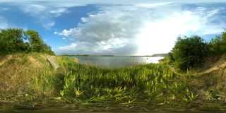lac 4k panoramique de 360 vr banque de vidéos