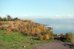 Lac Kineret sea de la Galilée l'israel Paysages et panorama naturels des endroits où Jésus a enseigné des personnes en même temps image stock