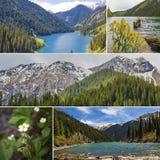 Lac Kolsay de collage en montagnes de Tien Shan, Kazakhstan Photographie stock