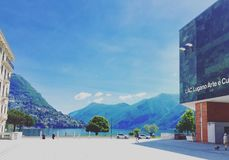 LAC lake. Cultural centre Lac in Lugano Stock Photo