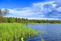 Lac landscape pour la pêche Image libre de droits
