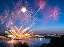Lac Leamy Fireworks 2014 Stock Images