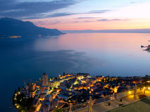 Lac Leman and Montruex at Dawn. Montreux Riviera and Lac Leman at dawn Stock Photo