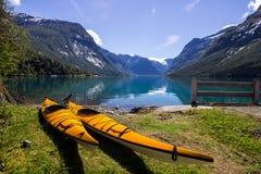 Lac Lovatnet en Norvège en Europe Photo stock