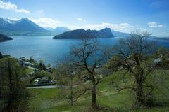 Lac Lucerne chez Vitznau Photographie stock
