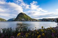 Lac Lugano Photos libres de droits