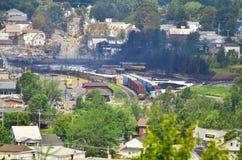 Сгоренные остатки Lac Megantic крушения поезда Квебека Стоковая Фотография