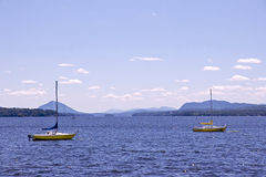 Lac Memphremagog - Quebec. A waterfront scene on Lac Memphremagog in the town of Magog, Quebec. A tourist destination in all seasons, the Eastern Townships offer royalty free stock image