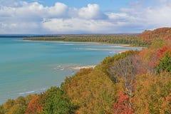 Lac Michgan shoreline d'automne Image libre de droits