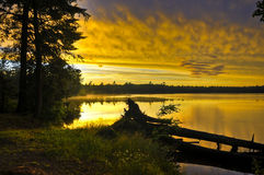 Lac Michigan canoe images stock