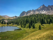 Lac miroir (Mirror lake), Queyras, the Alps Stock Photos