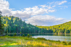 Lac in Mont-Tremblant national park. In sunshine, Quebec, Canada Stock Photos