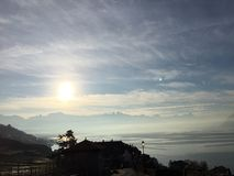 Lac Montreux la Riviera Lavaux sunrise photo libre de droits