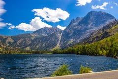 Lac mountain à la base de la chaîne de montagne Photographie stock libre de droits