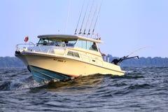 Lac Ontario fishing de bateau pour des saumons Photo stock