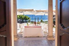Lac Orta, le 19 juillet 2016 Cérémonie de mariage extérieure à la villa Bossi Photos libres de droits