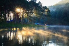 Lac pang Ung au lever de soleil Images libres de droits