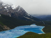 Lac Peyto fendant pendant le printemps avec le contexte de montagne Image libre de droits