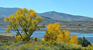 Lac pike en automne, le Colorado image stock