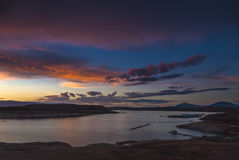 Lac Powell au paysage de l'Utah de coucher du soleil Images libres de droits