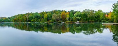 Lac Rond lake, in Sainte-Adele. Panoramic view of the Lac Rond lake, in Sainte-Adele, Laurentian Mountains, Quebec, Canada royalty free stock photo