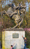 Lac révolutionnaire Hangzhou Zhejiang Chine Qimei Chen Horse Statue Students West Photo stock