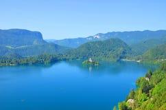 Lac saigné et son île Photographie stock libre de droits