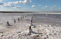 Lac salt L'endroit parfait pour qu'une personne reçoive la santé Photo stock