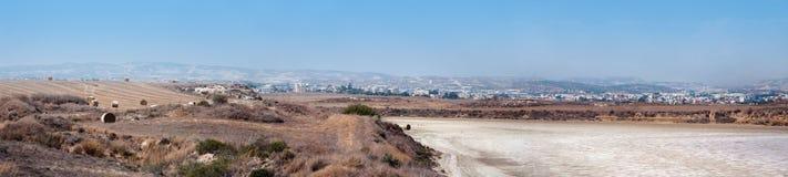 Lac salt, phenomen naturels près de Larnaka Image libre de droits