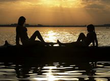 Lac sunset Photos libres de droits