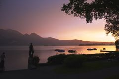 Lac sunset Photo stock