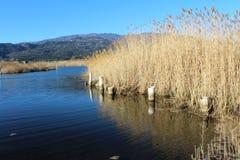 Lac, surface de nature et d'eau, scène sauvage et montagnes Photos stock