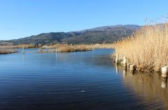Lac, surface de nature et d'eau, scène sauvage et montagnes Photographie stock libre de droits