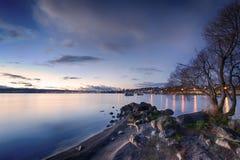 Lac Taupo au crépuscule Image libre de droits