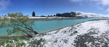 Lac Tekapo, Nouvelle-Zélande snowfall photographie stock