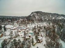 Lac Teletskoye à l'hiver aérien Images libres de droits