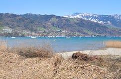 Lac Thun dans le printemps tôt Image libre de droits