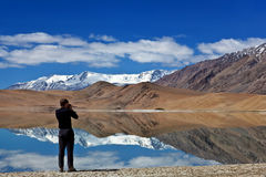 Lac tso Kar dans Ladakh, Inde du nord Image stock