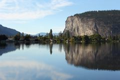 Lac Vaseux et bluffs de McIntyre, Okanagan, britannique Photo libre de droits